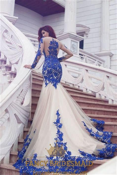 royal blue sheer lace applique long sleeve tulle mermaid