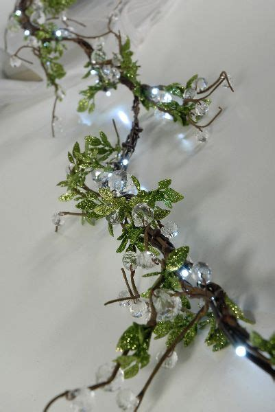 clear crystal led light garland led vine lights with crystals leaves 72 quot plug in