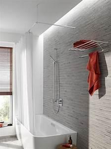 Halterung Für Duschvorhang : duschvorhangstange edelstahl ber eck als l form f r eine duschabtrennung und wasserschutz zu ~ Markanthonyermac.com Haus und Dekorationen