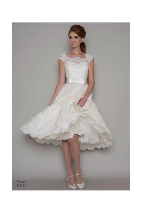 louou bridal florrie  tea length lace short wedding