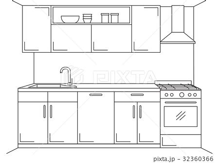 kitchen sink extractor kitchen furniture with sink hob and extractor のイラスト素材 2697