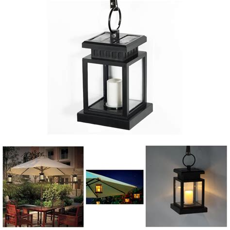 solar powered hanging umbrella lantern candle led light