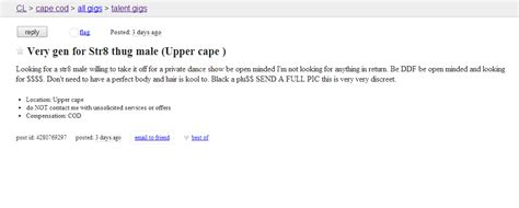 "Cape Cod Craigslist Ad Of The Day  Calling All ""str8 Thug"