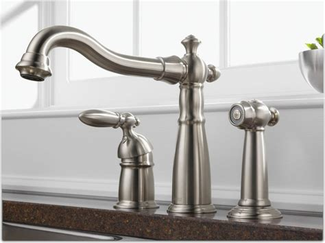 kitchen sink faucets with sprayers delta 155 ss dst single handle widespread