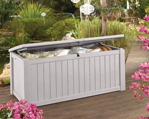 Keter Jumbo Deck Box White by Keter Brightwood Deck Box 120 Gallon White Home Design Ideas