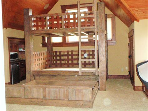 custom  full size bunk bed  hidden trundle