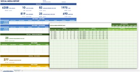 social media report template excel planner template