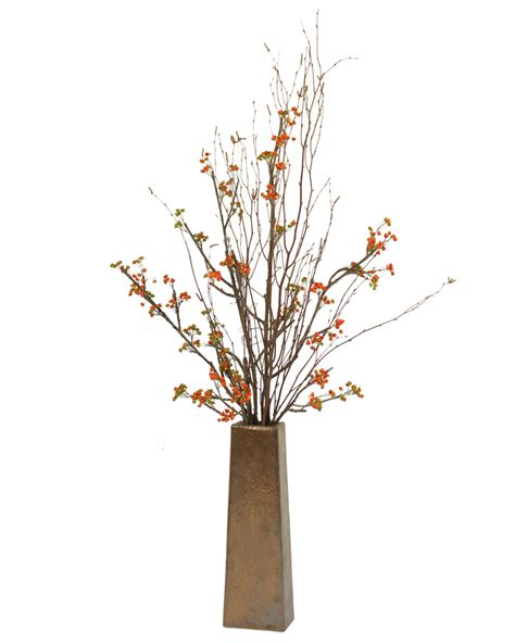 Vase With Branches by Silk Bittersweet Branches In Tapering Square Copper