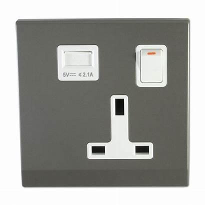 Grey Retrotouch Sockets Socket Single Usb Mid