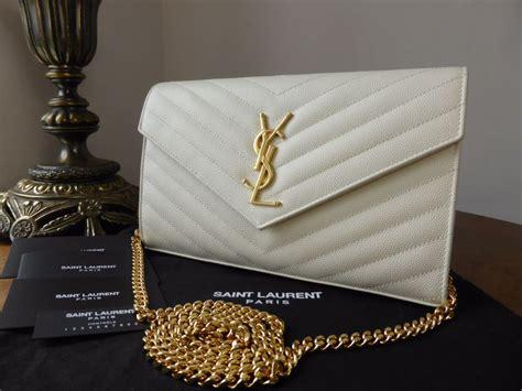 saint laurent monogram chain wallet  icy white grain de poudre textured matellase sold