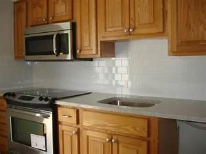 White Kitchen With Subway Tile Backsplash #432