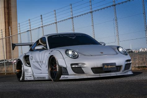 stanced porsche 911 widebody porsche 911 997 turbo lb performance liberty walk style