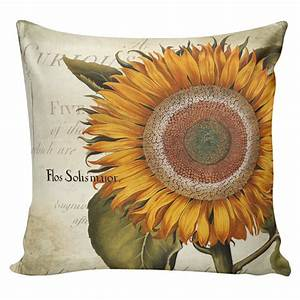 Throw Pillow Cover Vintage French Botanical Spring Sunflower