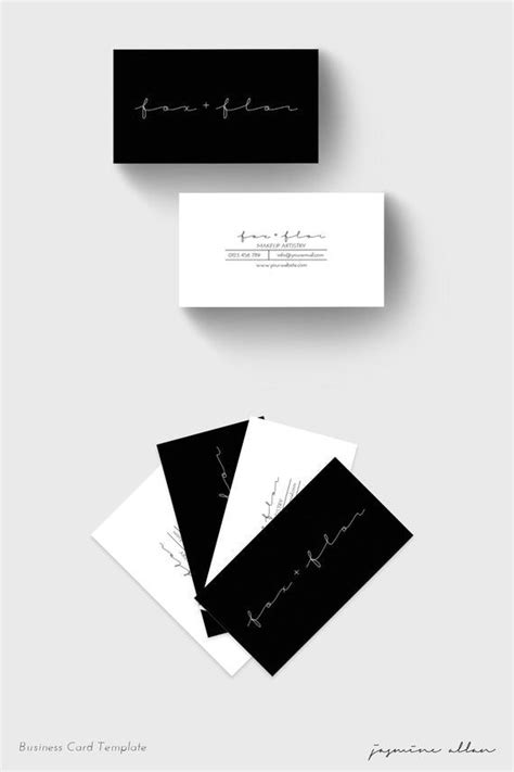 business card template black  white simple