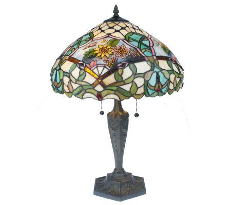 tiffany inspired ls qvc tiffany style handpainted floral 23 1 3 quot table l page