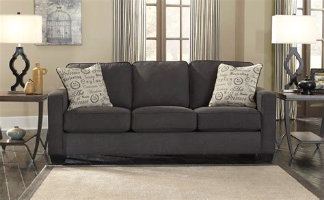 Decor Fabric For Sofa by Comfy Three Seater Fabric Charcoal Sofa With 2 Cushions As