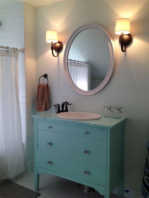 reclaimed dresser turned  vanity dresser