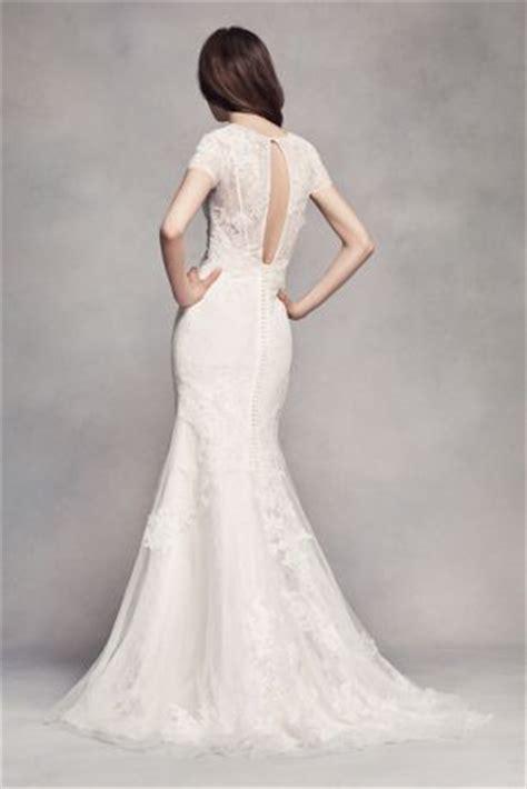 white  vera wang short sleeve lace wedding dress david