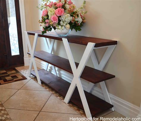 diy sofa table plans remodelaholic diy double x console table