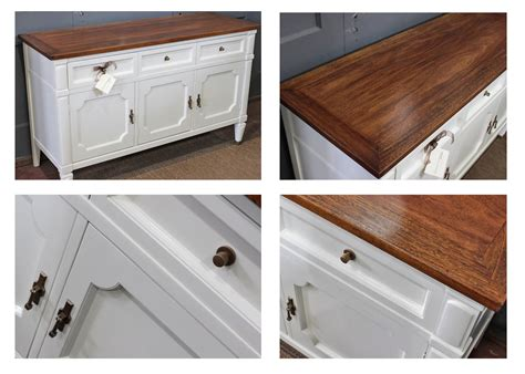 white wood stain cabinets buffet in antique white milk paint and brown mahogany gel