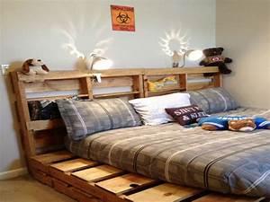 Lit En Palette Avec Rangement : 34 id es de lit en palette bois a faire pour la chambre ~ Melissatoandfro.com Idées de Décoration