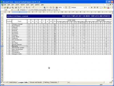 league table spreadsheet template