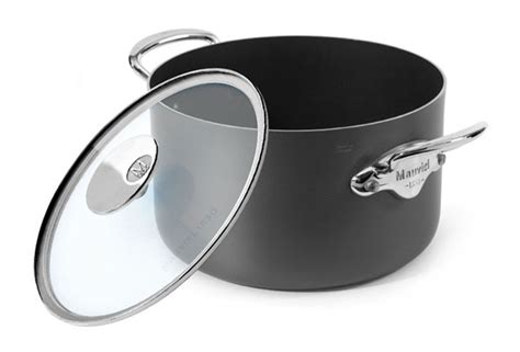 mauviel mstone nonstick stock pot  quart glass lid cutlery