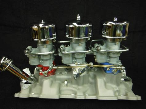 offenhauser chevy tri power intake manifold holley 94 carbs 3x2 sbc the h a m b