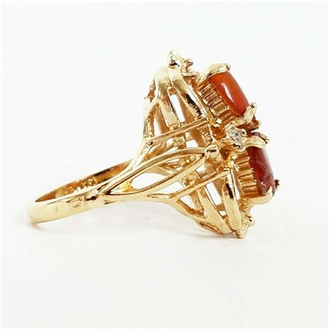 Vintage  Vintage 18k Gold Amber & Diamond Ring From. Lotus Flower Wedding Rings. Two Tone Rings. Unique Matching Wedding Wedding Rings. Raymond Lee Wedding Rings. Bff Rings. Colour Engagement Rings. Geometric Rings. Lissome Engagement Rings
