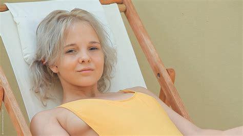 women, Pornstar, Blonde, Long Hair, Katerina Kozlova, Looking At Viewer, Sitting, Deck Chairs ...