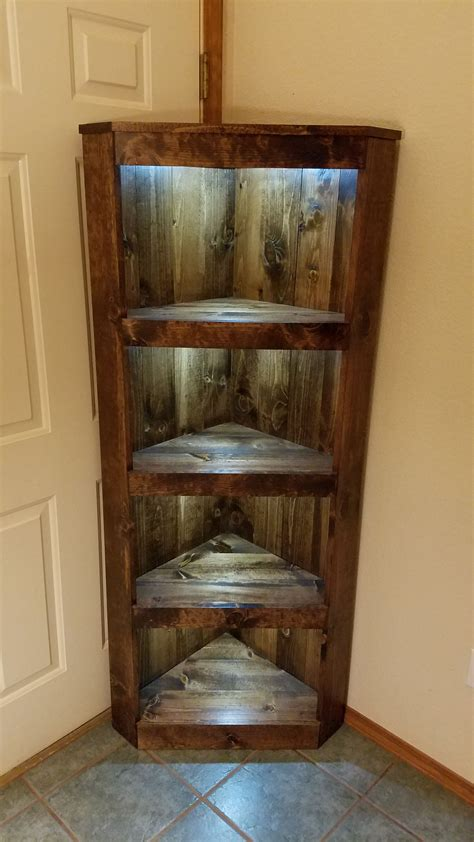 rustic illuminated corner shelf   reclaimed lumber