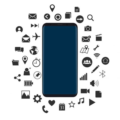 black modern smartphone with application icons on the concept of new smartphone with black icons vector vector