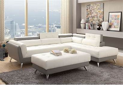 Sectional Sofa Modern Contemporary Grey Plush Wide