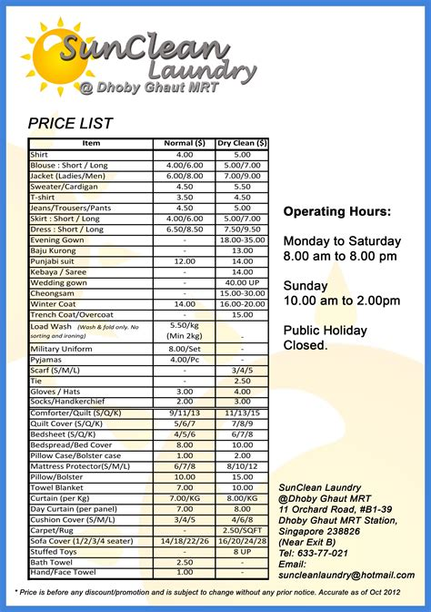 Service Prices by Laundry Price List
