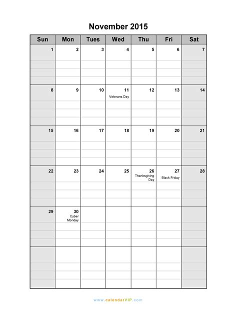 november calendar blank printable calendar template word