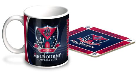 Melbourne Demons Afl Ceramic Coffee Mug And Coaster Gift