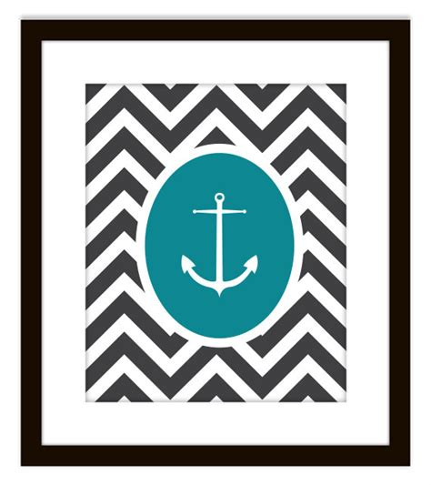 items similar to nautical chevron anchor printable home decor print on etsy