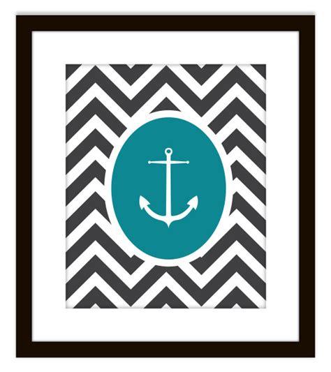 Chevron Print Bathroom Decor by Nautical Chevron Anchor Printable Home Decor Print On