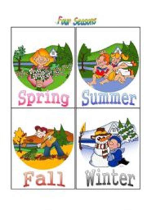 Four Seasons Flash Cards  Esl Worksheet By Blubird