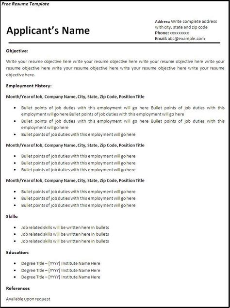 Basic Curriculum Vitae Template by Pin By Franco On Resume Writing Free Professional