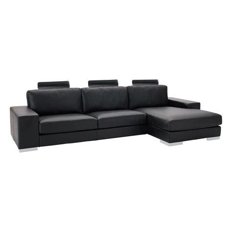 canapé d angle 5 places canapé d 39 angle 5 places en cuir noir daytona maisons du