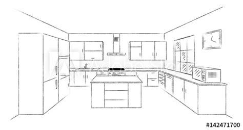 sketch hand drawing kitchen interior plan  island