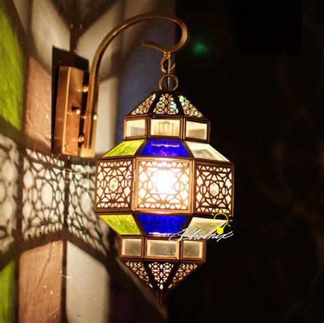 morocco clorful glass and copper wall sconce in copper