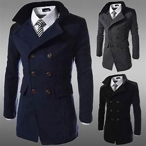 fashion 2016 brand winter long trench coat men good