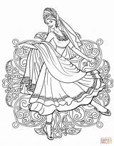 Coloring Indian Traditional Dancing Dance Printable Supercoloring Drawing India Belly Arabic Dresses Adult Fairy Drawings Line Sketches Sheets Permission Nature sketch template