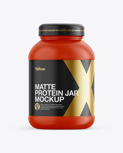 ✓ free for commercial use ✓ high quality images. Metallic Protein Jar Mockup - Front View - Glossy Plastic ...