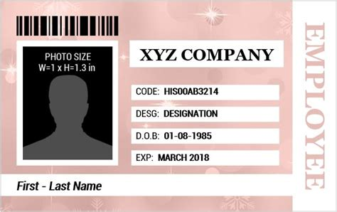 create id card template employee identification card templates ms word word