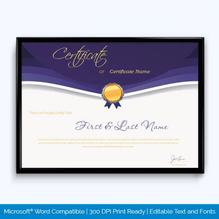 award certificate templates  microsoft word