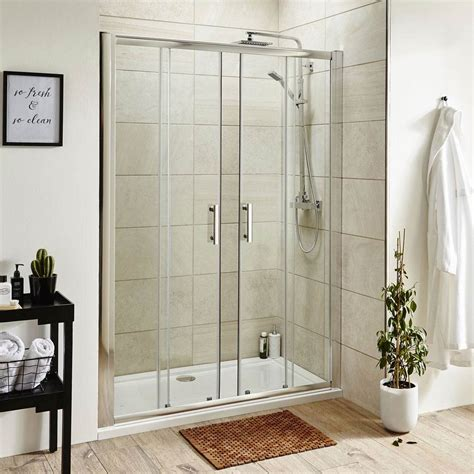 pacific double sliding shower door  shower tray