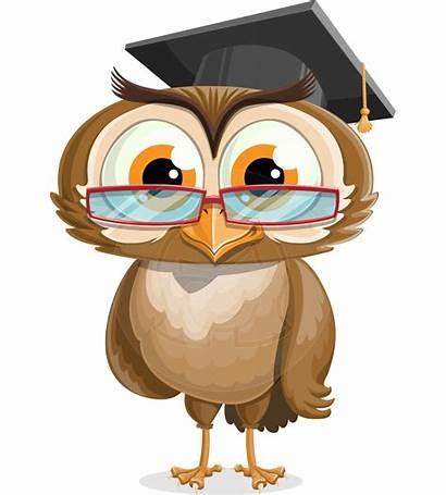 Owl Graduation Cap Clip Cartoon Glasses Wise